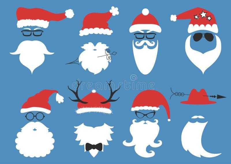 Vektorhippie Santa Claus Schattenbild mit kühlem Bart lizenzfreie abbildung