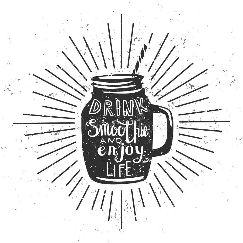 Vektorhipsterillustration med smoothien och grungetextur royaltyfri illustrationer