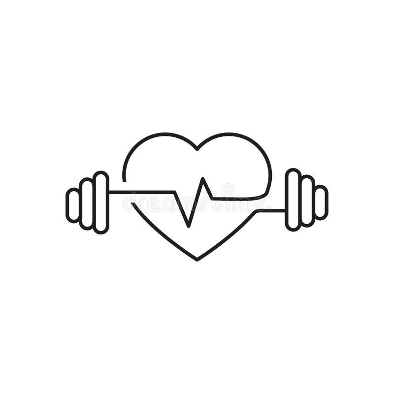 Vektorhjärtaöversikt, hantlar och en kardiogram Symbol som symboliserar den vård- sporten livsstil Linje konst royaltyfri illustrationer
