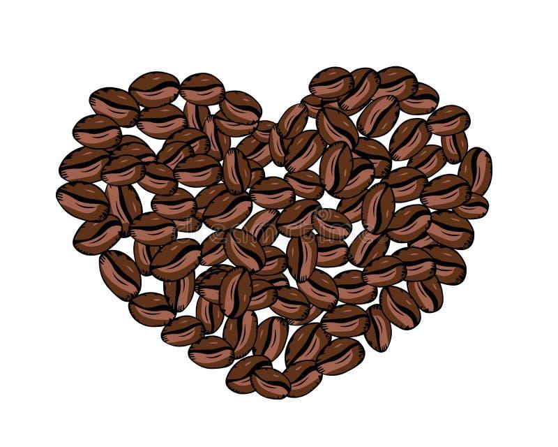 Vektorhjärta av kaffebönor på vit bakgrund stock illustrationer