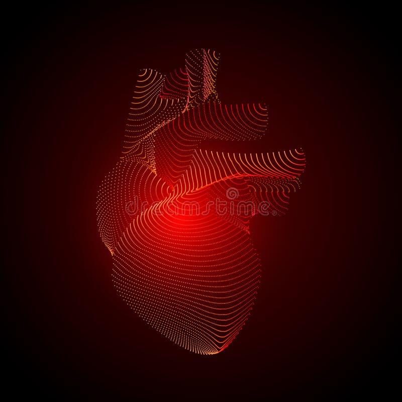 Vektorhjärta med smärtar mitten vitt mänskligt organ 3D på mörk bakgrund Medicinbegrepp med punkter Abstrakt hjärta smärtar royaltyfri illustrationer