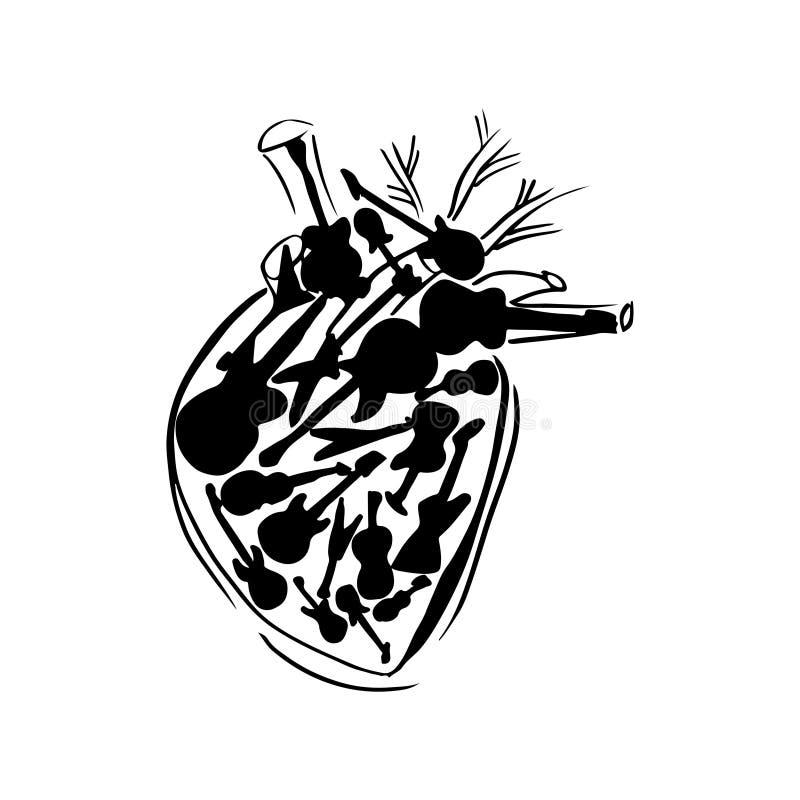 Vektorhjärta som fylls med gitarrer royaltyfri illustrationer