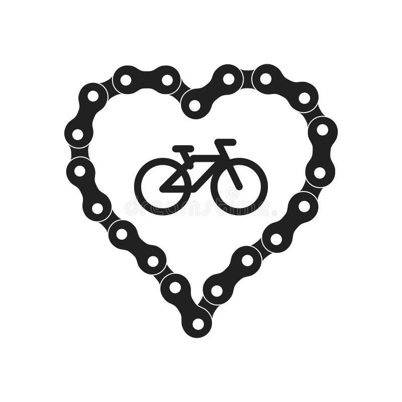 Vektorhjärta som göras av cykel- eller cykelkedja Svart hjärtakonturbakgrund plus cykelprövkopiasymbol royaltyfri illustrationer