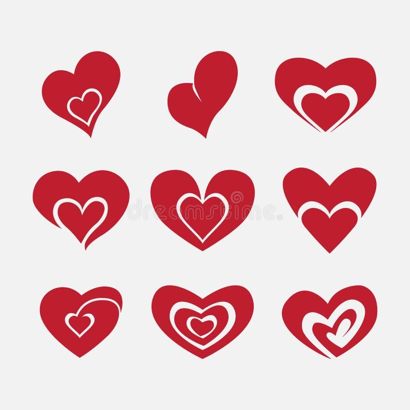 Vektorhjärtor uppsättning, hjärta för förälskelse arkivfoto