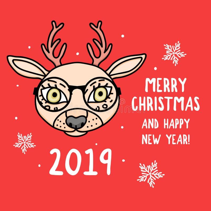 Vektorhjorttecken med exponeringsglas glad jul Kort med det gulliga djura huvudet som isoleras på rött Dragen feriehand royaltyfri illustrationer