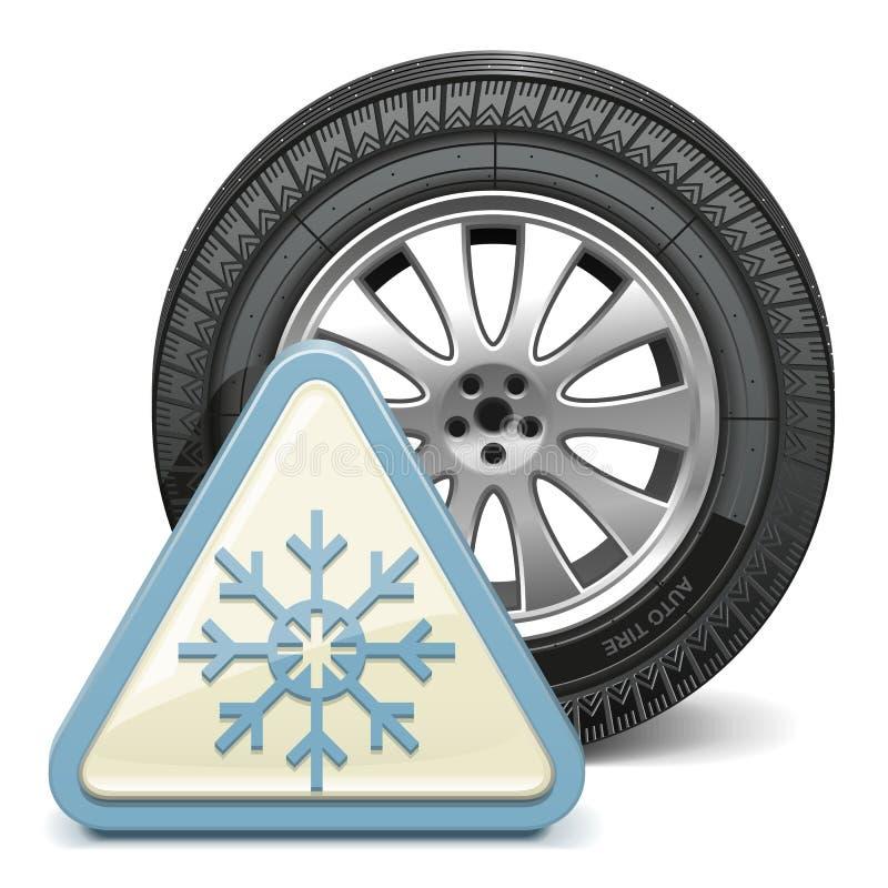Vektorhjul med snöflingatecknet royaltyfri illustrationer
