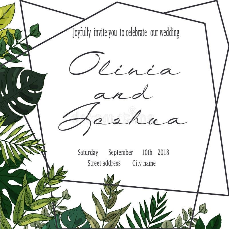 Vektorhochzeit laden Einladungsabwehr das Datumsblumenkartendesign ein Grüner Farn, Wald verlässt Kräuter, Grün pflanzen Mischung stock abbildung
