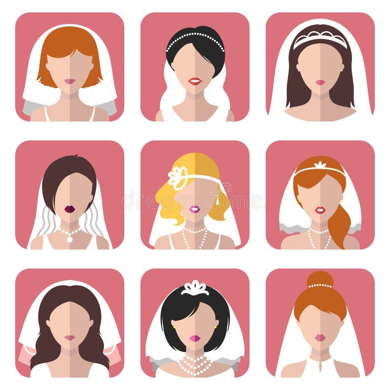 Vektorhochzeitssatz verschiedene Braut-APP-Ikonen in der modischen flachen Art Brautmädchennetz-Avatarasammlung stock abbildung
