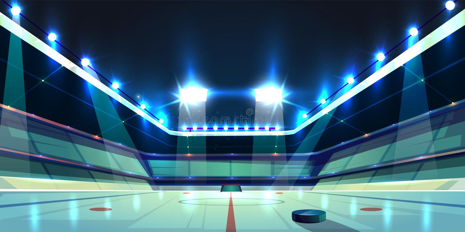 Vektorhockeyarena, isisbana med pucken stock illustrationer