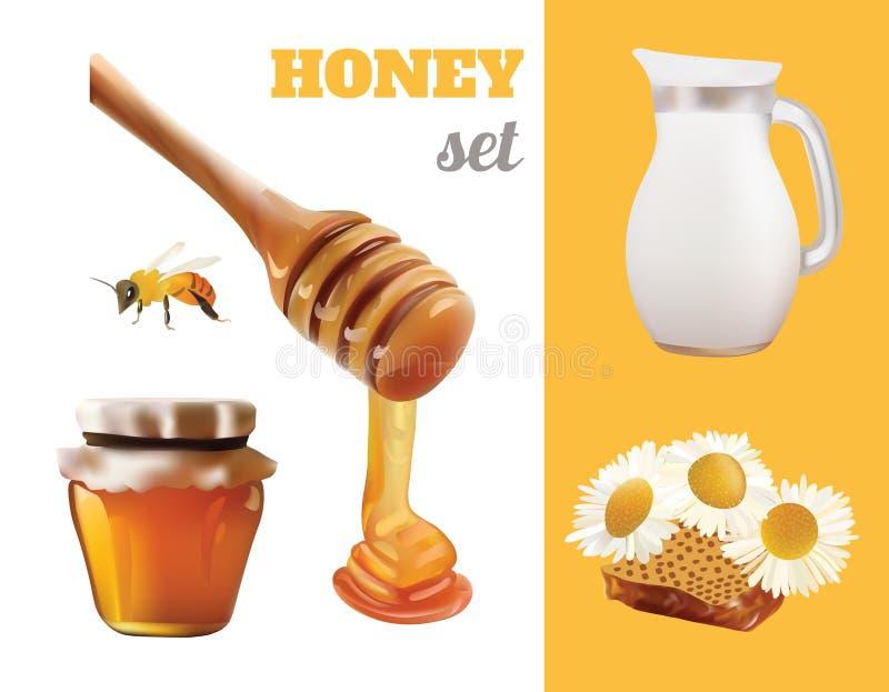 VektorHoney Set Realistic illustration Krus bank, bi, honungskaka, kamomill, Honey Pouring From Wooden Stick design royaltyfri illustrationer