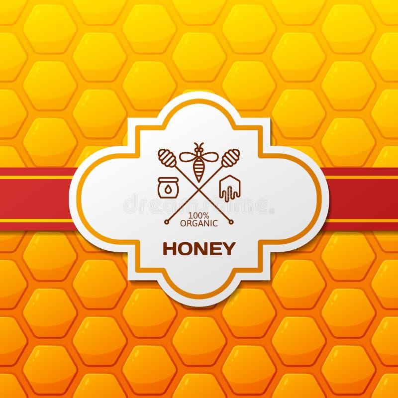 Vektorhonungetikett, logo, etikett, designbeståndsdelar och bakgrund Honungskakor mönstrar med det röda bandet och etiketten royaltyfri illustrationer