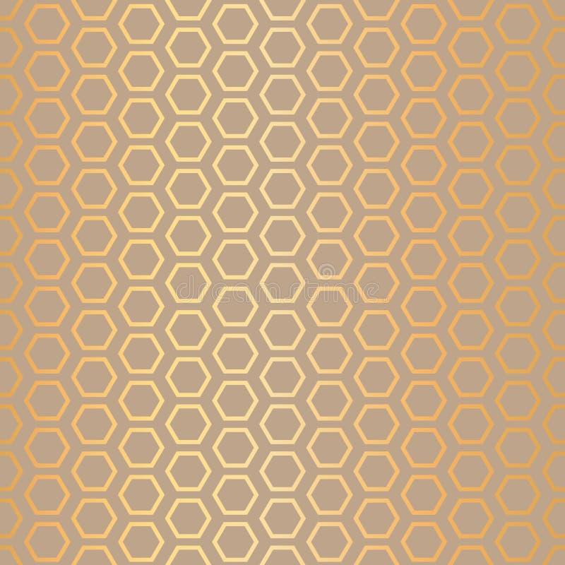 Vektorhonungskakor gör sammandrag bakgrund för modellen för effekt för guld- folie sömlös vektor illustrationer