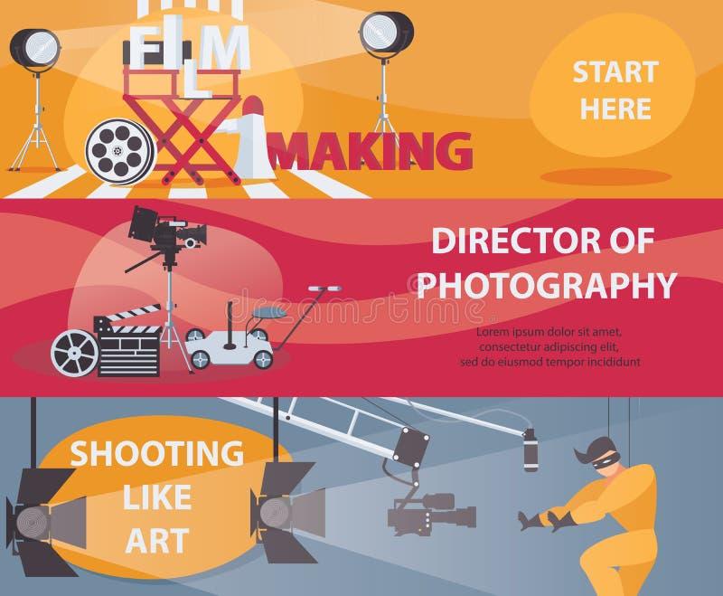 Vektorhorisontalbaner om filmande och bio Baner med filmdanandematerial, direktör av fotografi som agerar Uppsättning av designer vektor illustrationer