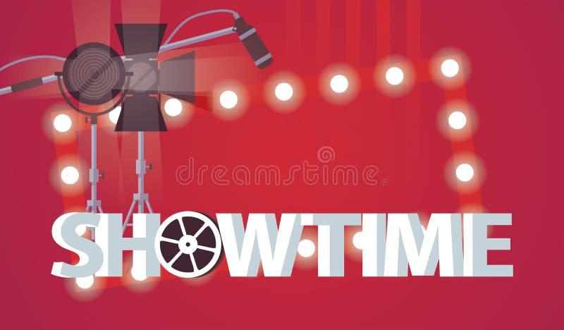 Vektorhorisontalillustration som är hängiven till film- och TV-programproduktion Stor showtime för ord 3d, biostrålkastare, mikro vektor illustrationer