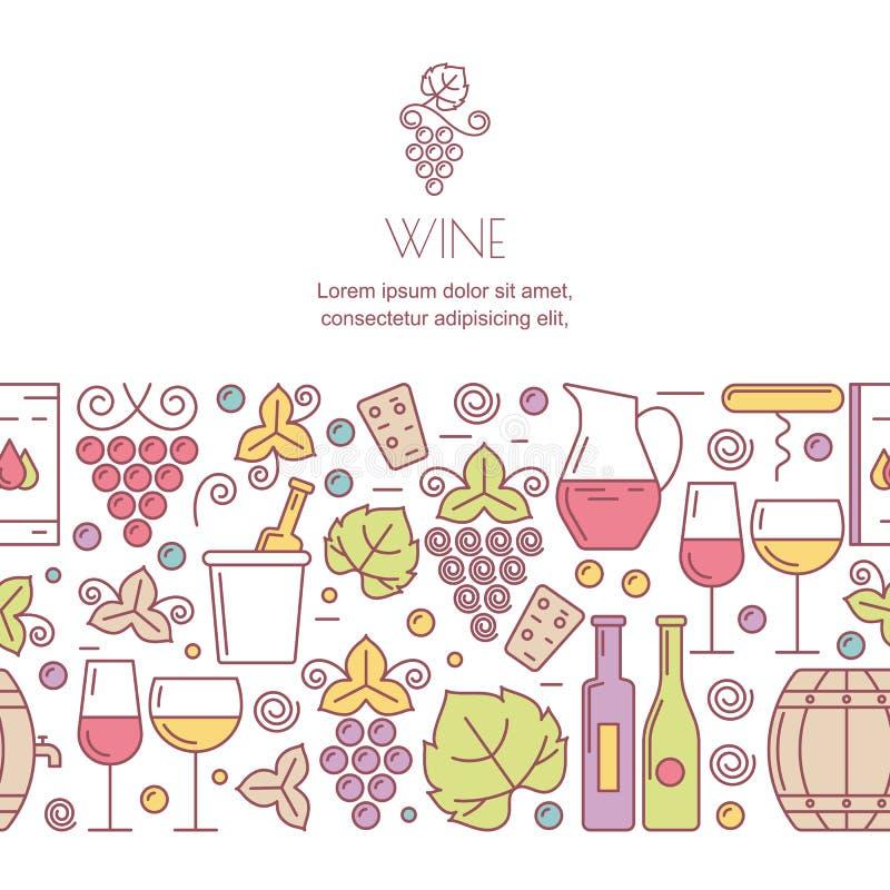 Vektorhorisontalsömlös bakgrund med vinflaskor, exponeringsglas, vektor illustrationer