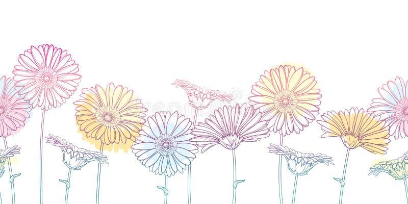 Vektorhorisontalsömlös modell med den översiktsgerbera- eller Gerber blomman i pastellfärgad rosa och orange på den vita bakgrund royaltyfri illustrationer