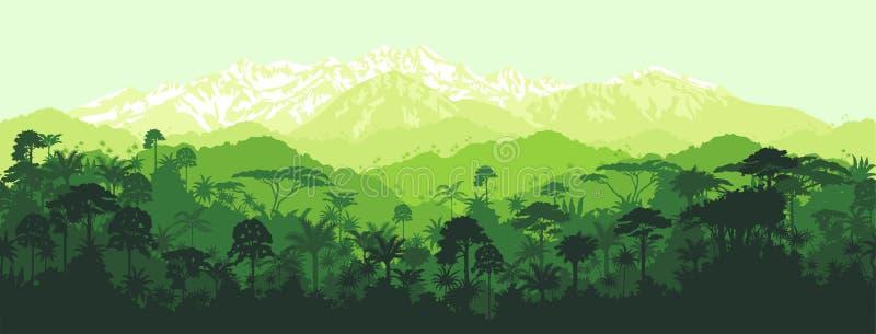 Vektorhorisontalsömlös tropisk djungel med bergbakgrund stock illustrationer
