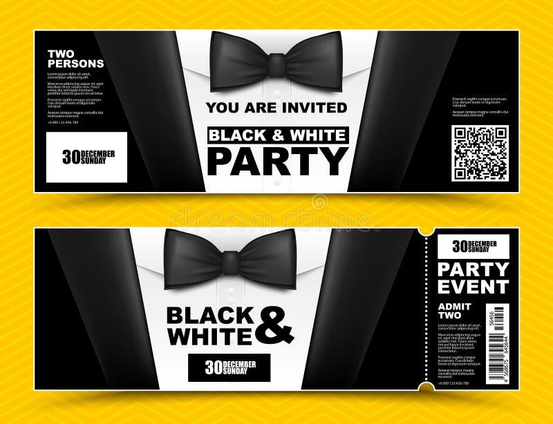 Vektorhorisontalsvartvita händelseinbjudningar Svarta flugaaffärsmanbaner Elegant partibiljettkort med den svarta dräkten stock illustrationer