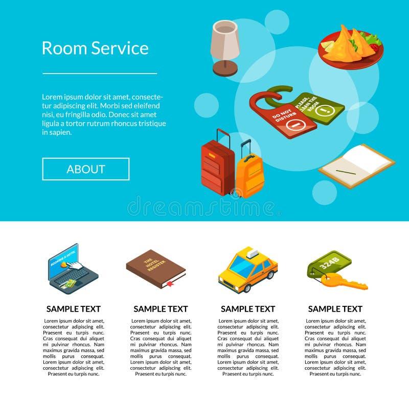 Vektorhotelikonen-Seitenillustration Hotelservice-Konzept stock abbildung