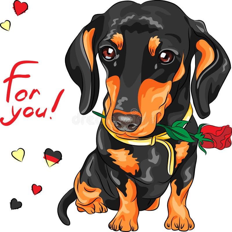 Vektorhundtax med den röda blomman royaltyfri illustrationer