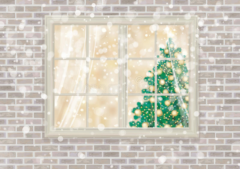Vektorhusfönster med julgranen stock illustrationer