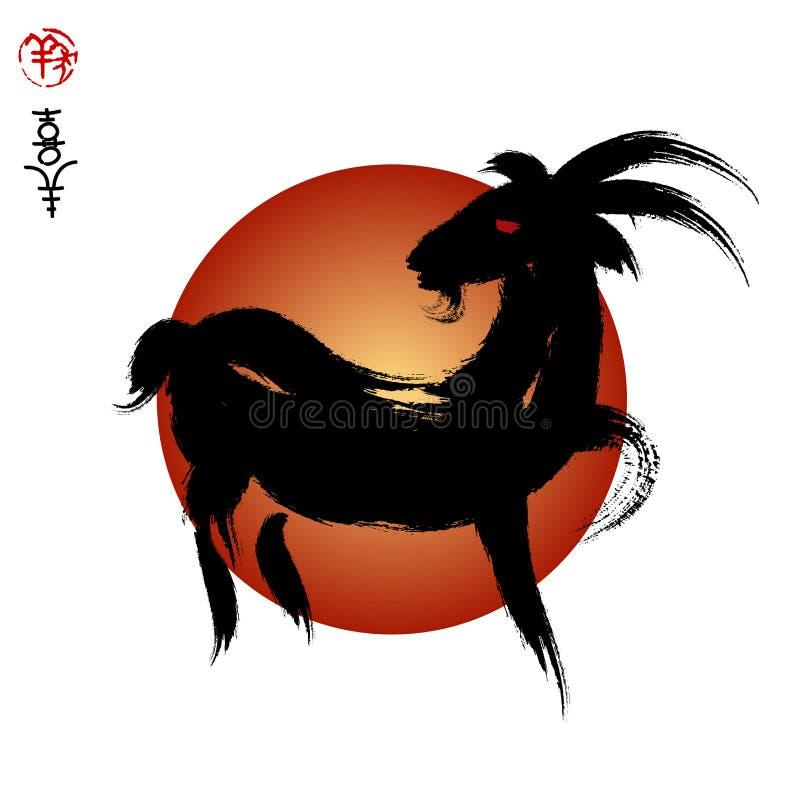 Vektorhuvud av getåret av geten, skyddsremsa- och kinesbetydelsen I vektor illustrationer