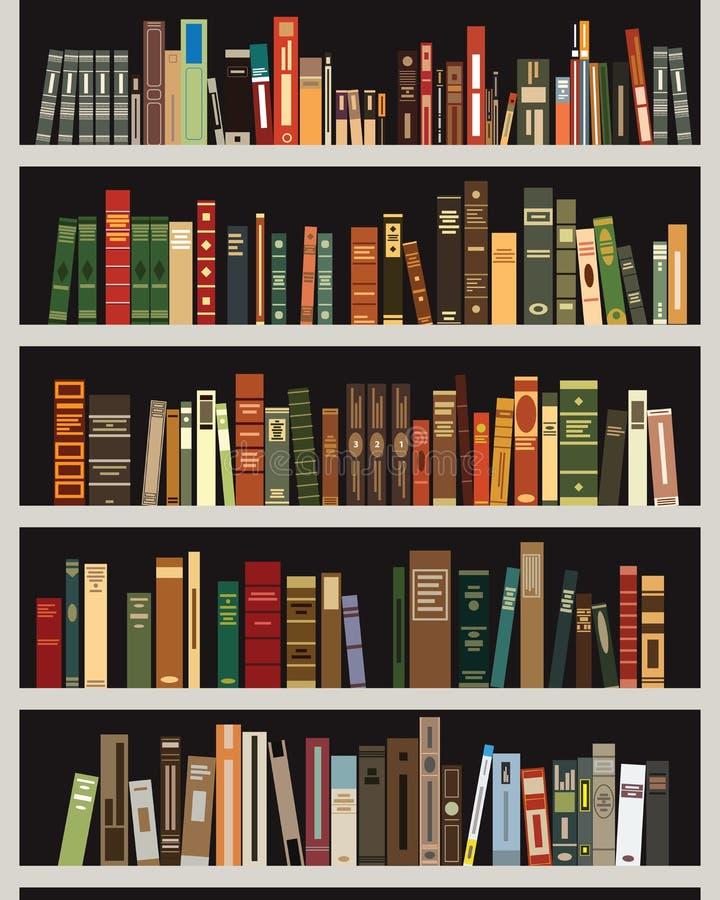Vektorhyllor med böcker på det royaltyfri illustrationer