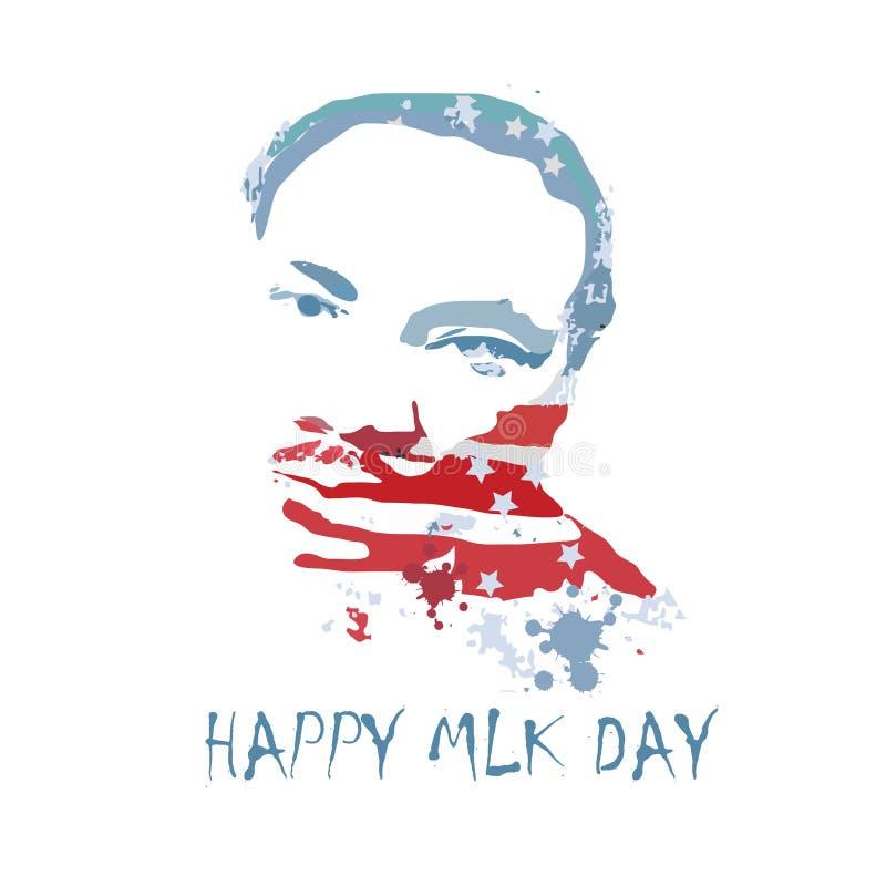 VektoriIlustration av Martin Luther King, Jr att att fira MLK royaltyfri illustrationer