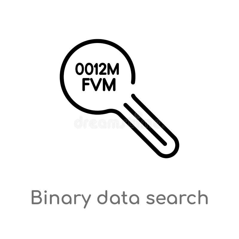 Vektorikone der bin?ren Daten des Entwurfs Such lokalisiertes schwarzes einfaches Linienelementillustration vom Benutzerschnittst stock abbildung