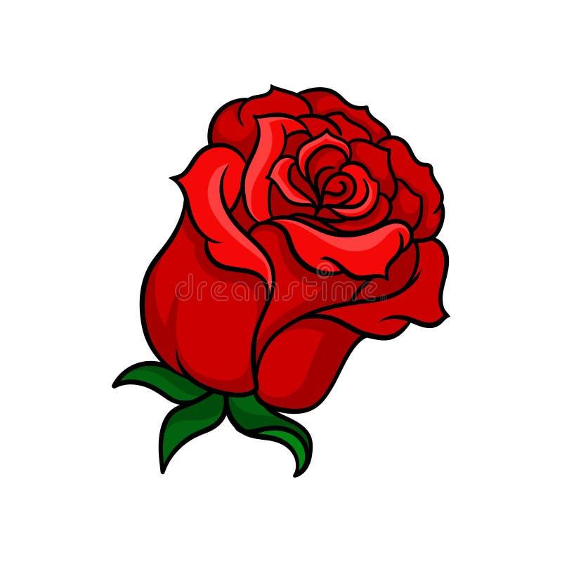 Vektorikone der blutig-roten Rose Knospe der schönen Gartenblume Bäume, die vom See-Wasser wachsen Element für Blumentätowierung, stock abbildung