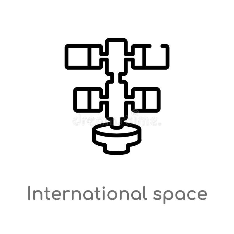 Vektorikone der Entwurfsinternationalen weltraumstation lokalisiertes schwarzes einfaches Linienelementillustration vom Astronomi stock abbildung