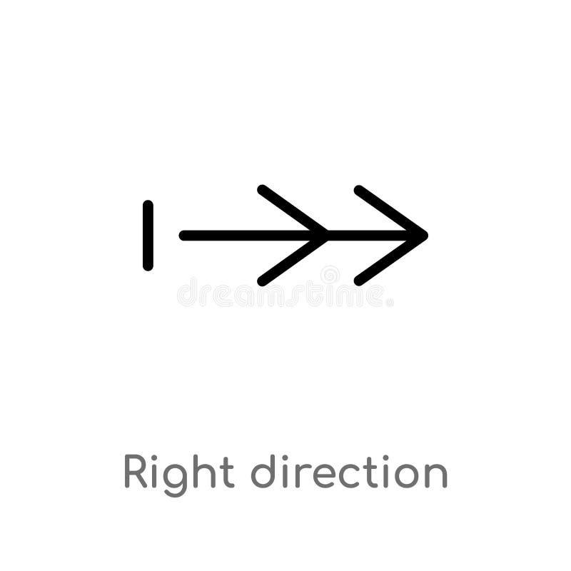 Vektorikone der Entwurfsrichtigen richtung lokalisiertes schwarzes einfaches Linienelementillustration vom Pfeilkonzept Editable  stock abbildung