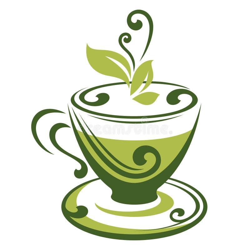 Vektorikone der Schale des grünen Tees stock abbildung