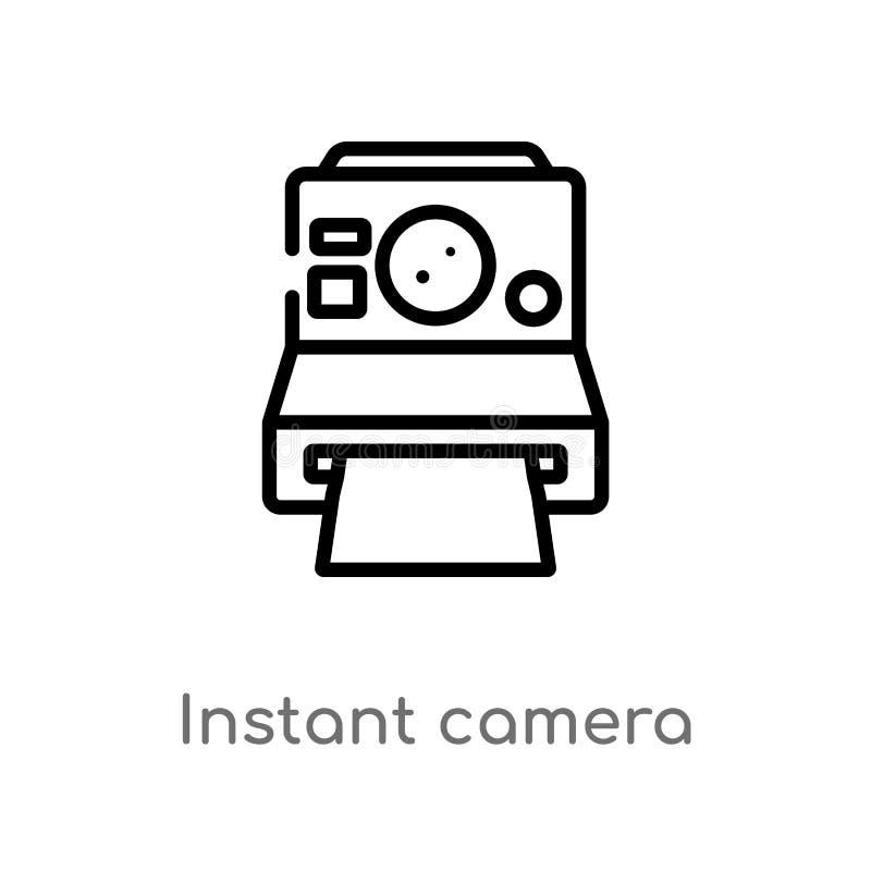 Vektorikone der sofortigen Kamera des Entwurfs lokalisiertes schwarzes einfaches Linienelementillustration vom Freizeitkonzept Ed stock abbildung