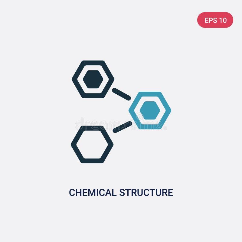 Vektorikone der zwei Farbchemischen Struktur vom Naturkonzept lokalisiertes blaues Vektorzeichensymbol der chemischen Struktur ka vektor abbildung