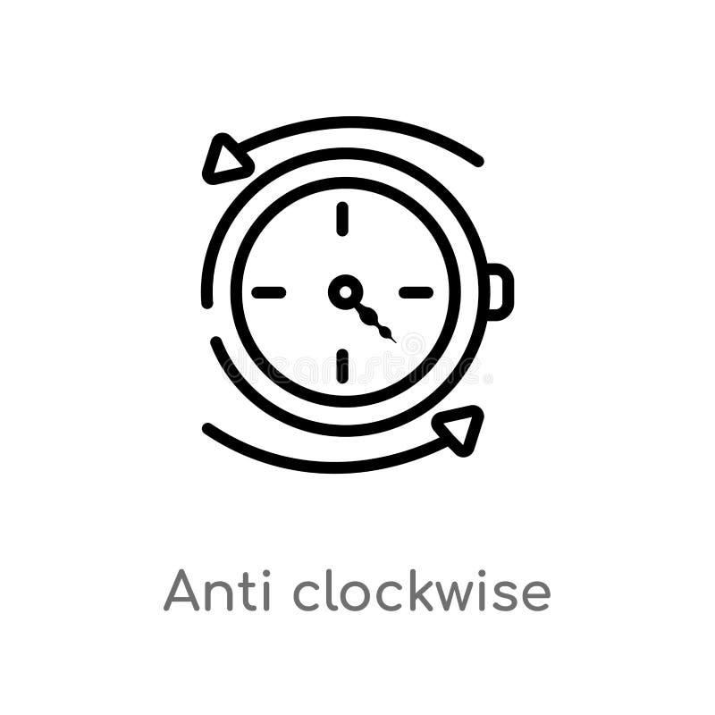 Vektorikone des Entwurfs entgegen dem Uhrzeigersinn lokalisiertes schwarzes einfaches Linienelementillustration vom Benutzerschni stock abbildung