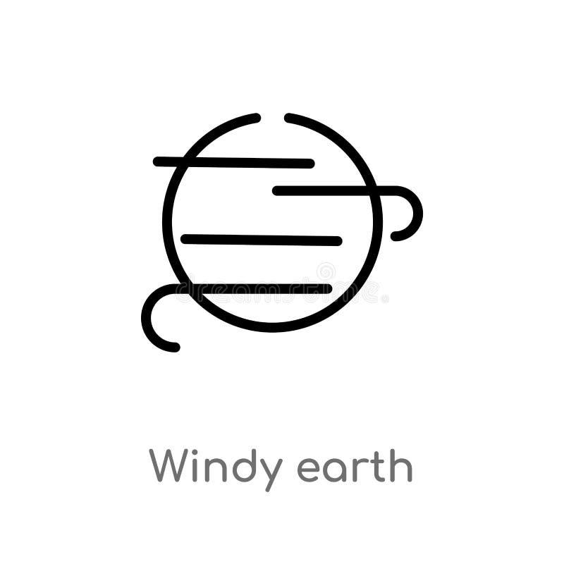 Vektorikone des Entwurfs windige Erd lokalisiertes schwarzes einfaches Linienelementillustration vom Meteorologiekonzept Editable vektor abbildung