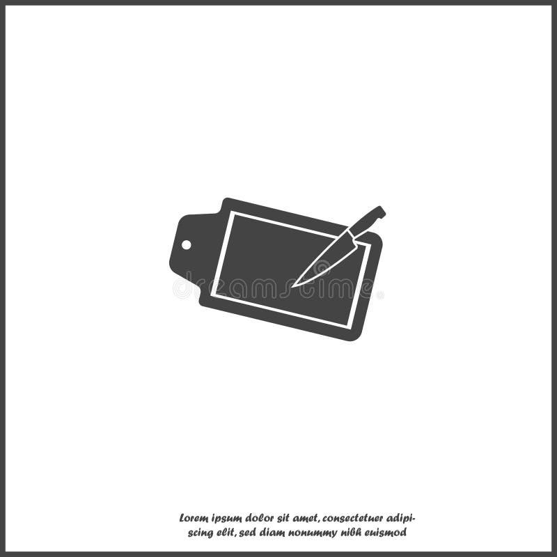 Vektorikone des Küchenschneidebretts und des Küchenmessers auf weißem lokalisiertem Hintergrund lizenzfreie abbildung