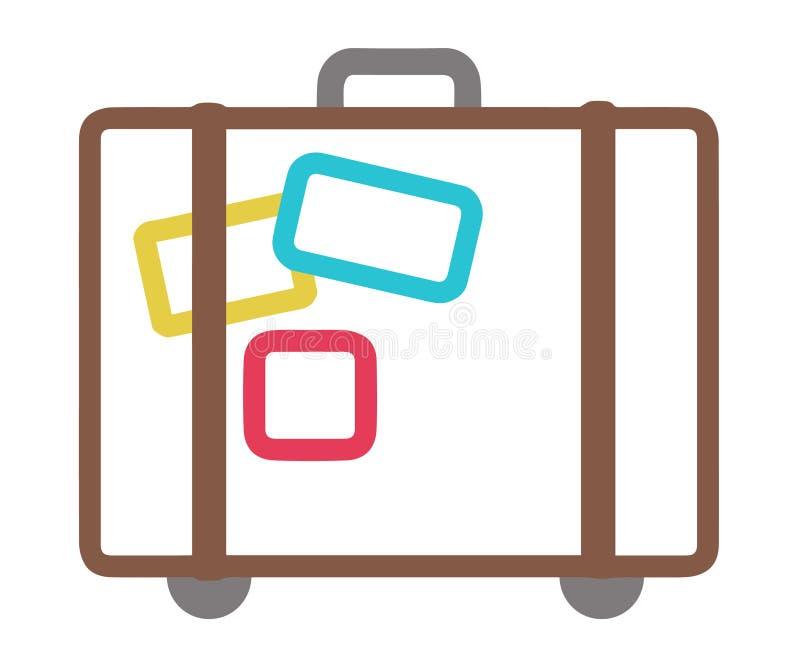 Vektorikone des Koffers mit Rollen und Aufklebern lizenzfreie abbildung