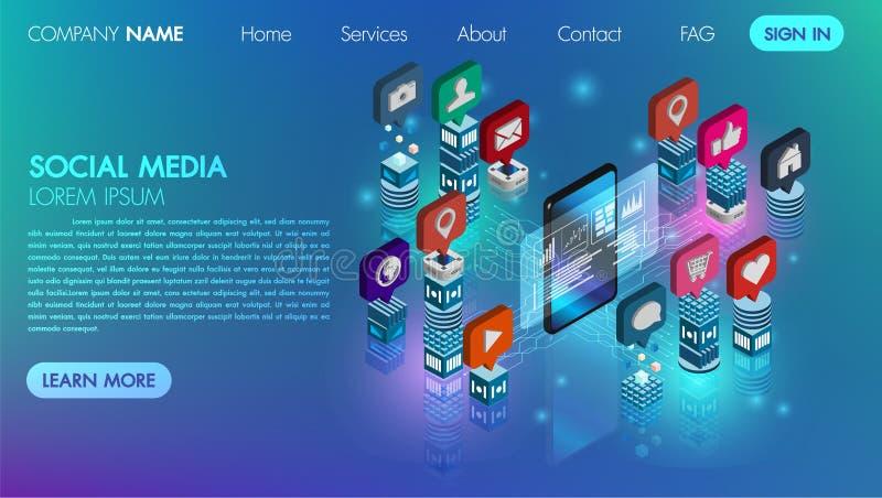 Vektorikone des Konzeptes 3d des Social Media schließen flache isometrische mit Handytechnologie Datenbank digitalen Cyber-Prozes vektor abbildung