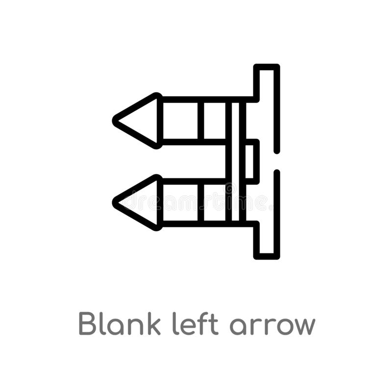 Vektorikone des linken Pfeiles des Entwurfsfreien raumes lokalisiertes schwarzes einfaches Linienelementillustration vom Benutzer vektor abbildung