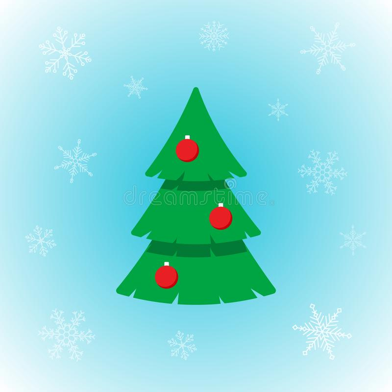 Vektorikone des Weihnachtsbaums in der flachen Art mit Schneeflocken auf Winterhintergrund vektor abbildung