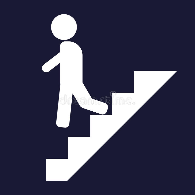 Vektorikone eines Mannes geht die Treppe, auf Karriereleiter hinunter vektor abbildung