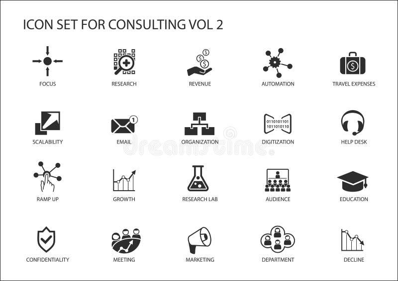 Vektorikone eingestellt für die Themaberatung Verschiedene Symbole für die beratene, Betriebsberatung und Management Strategieber lizenzfreie abbildung