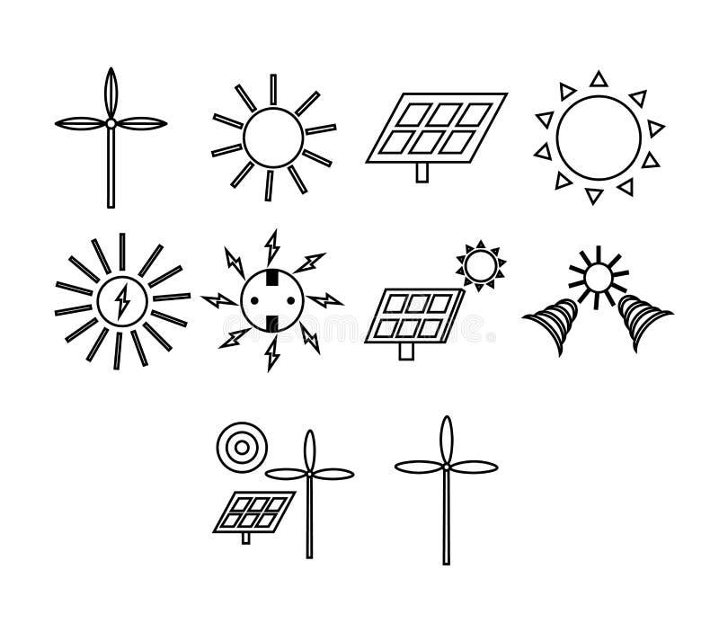 Vektorikone eingestellt für Generation der Solarenergie lizenzfreie abbildung