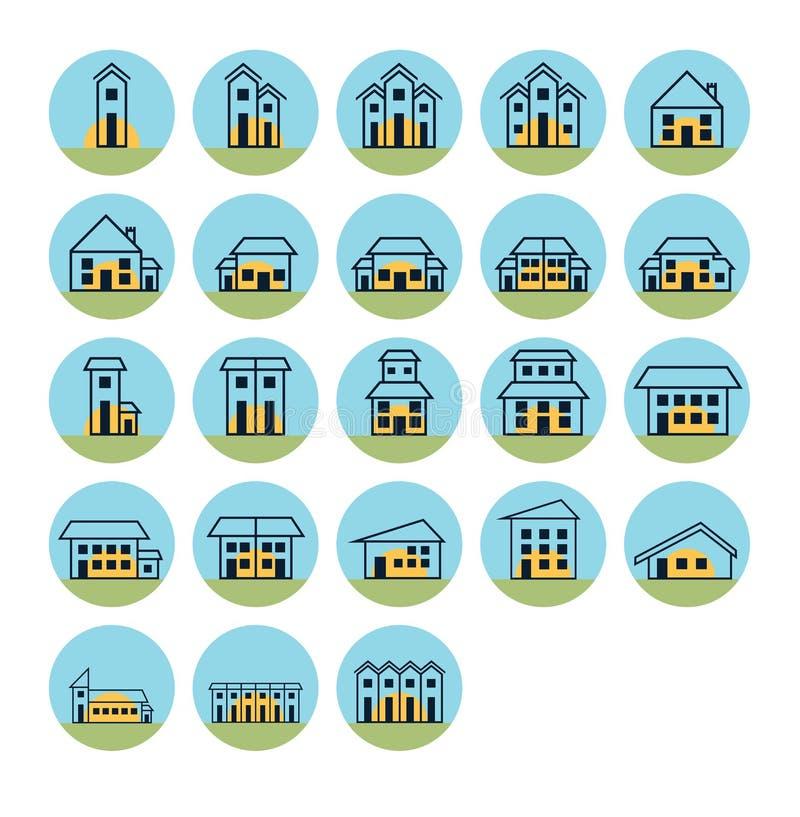 Vektorikone eingestellt für Immobilien stock abbildung