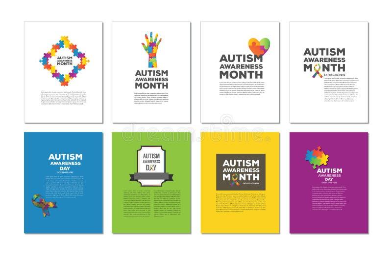 Vektorikone eingestellt für verschiedenes Autismusbewusstsein lizenzfreie abbildung