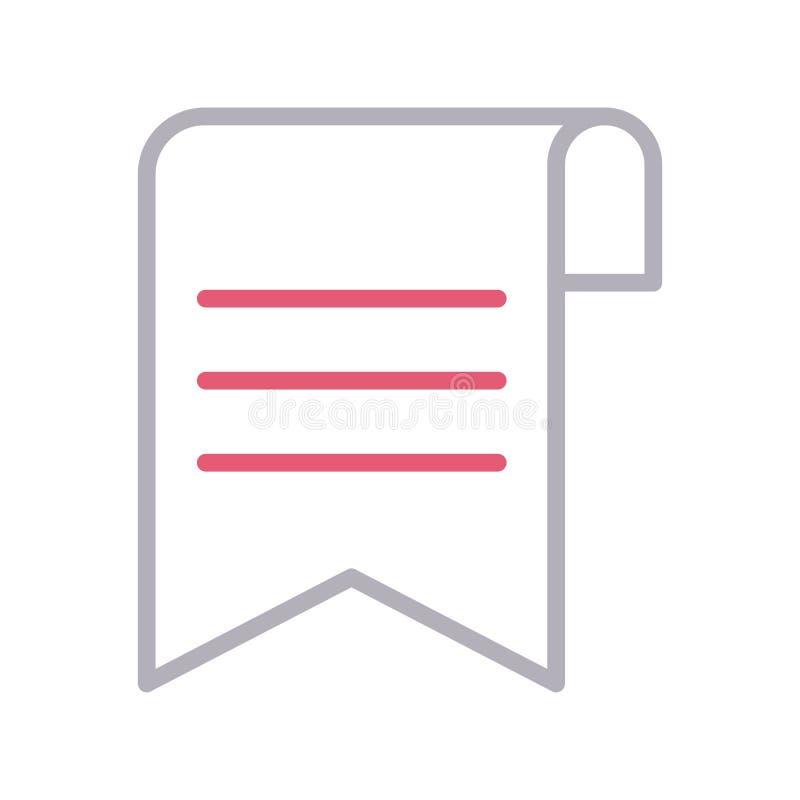 Vektorikone lline Farbe des Bookmarkblattes dünne lizenzfreie abbildung