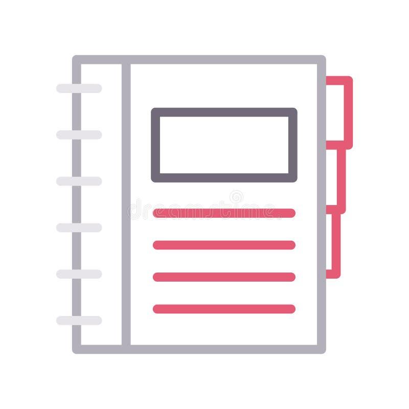Vektorikone lline Farbe des Tagebuchs dünne stock abbildung
