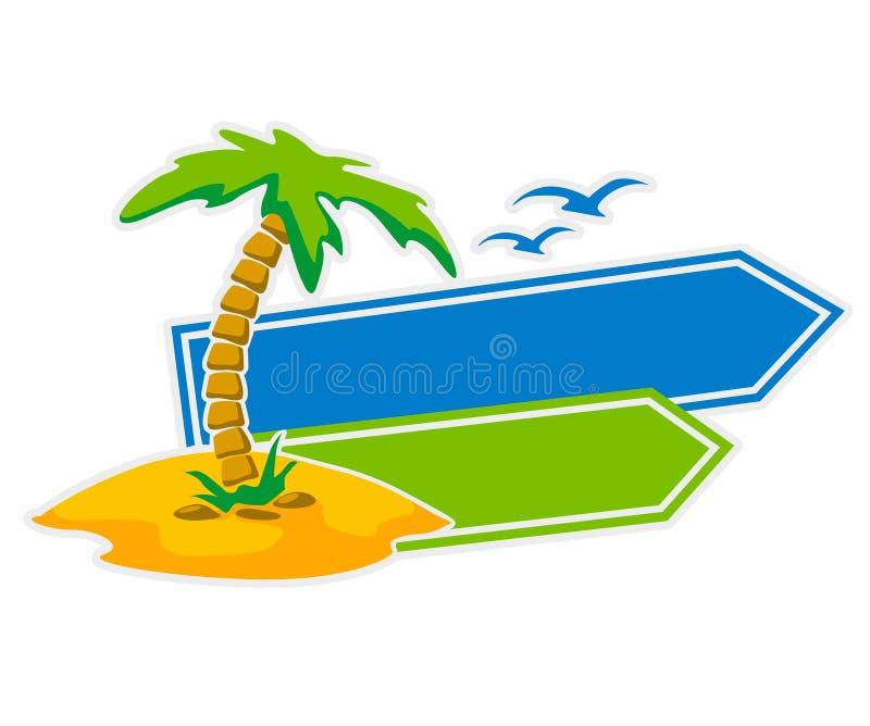 Vektorikone mit Palme- und Nadelanzeigezeichen lizenzfreie abbildung